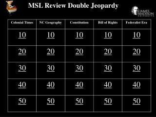 MSL Review Double Jeopardy