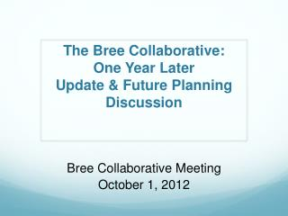 The  Bree  Collaborative:  One Year Later  Update & Future Planning Discussion