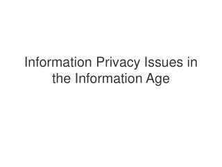 Information Privacy Issues in the Information Age