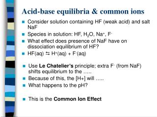 Acid-base equilibria & common ions