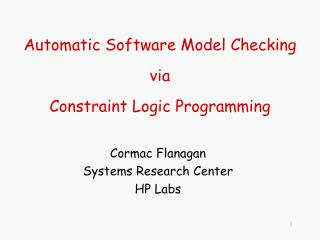 Automatic Software Model Checking  via Constraint Logic Programming