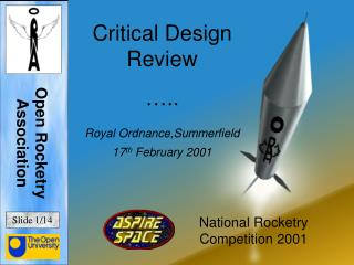 Critical Design Review �.. Royal Ordnance,Summerfield 17 th  February 2001