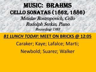B1 LUNCH TODAY:  MEET ON BRICKS @ 12:05 Caraker; Kaye; Lafalce; Marti;  Newbold; Suarez; Walker