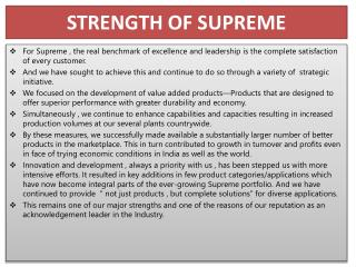 STRENGTH OF SUPREME
