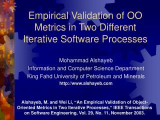 Empirical Validation of OO Metrics in Two Different Iterative Software Processes