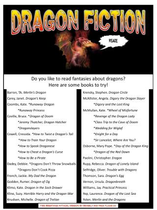 Do you like to read fantasies about dragons?  Here are some books to try!