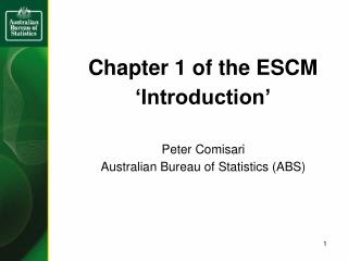 Chapter 1 of the ESCM 'Introduction'
