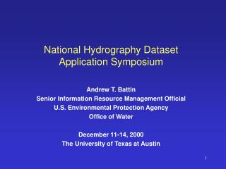National Hydrography Dataset Application Symposium
