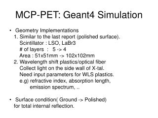 MCP-PET: Geant4 Simulation