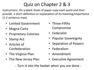 Quiz on Chapter 2 & 3