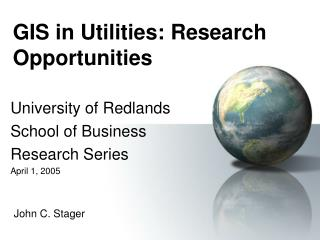 GIS in Utilities: Research Opportunities