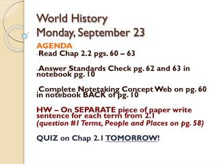 World History  Monday, September 23