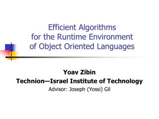 Efficient Algorithms  for the Runtime Environment     of Object Oriented Languages