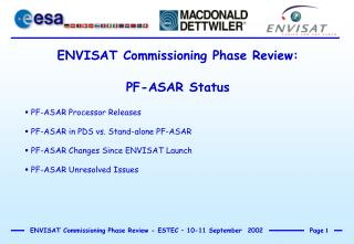 ENVISAT Commissioning Phase Review: PF-ASAR Status