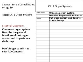 Sponge: Set up Cornell Notes on  pg. 19 Topic : Ch. 1 Organ Systems Essential Question :
