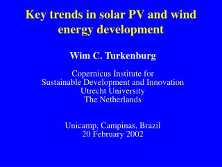 Key trends in solar PV and wind energy development