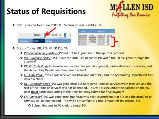 Status of Requisitions