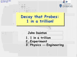 Decay that Probes: 1 in a trillion!