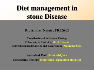 Diet management in stone Disease