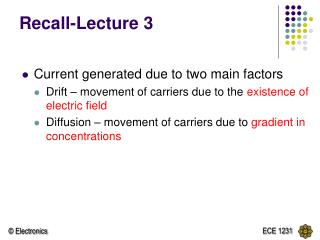 Recall-Lecture 3