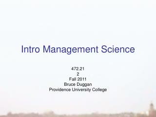 Intro Management Science