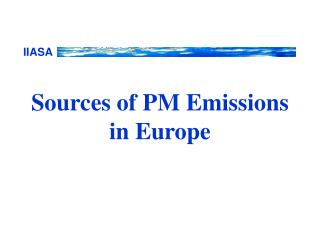 Sources of PM Emissions in Europe