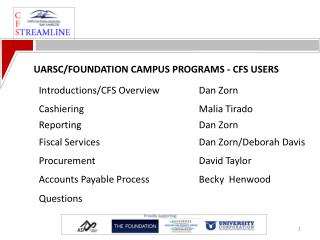 UARSC/FOUNDATION CAMPUS PROGRAMS - CFS USERS