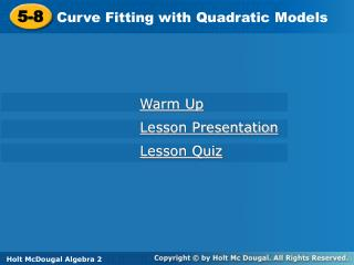 Curve Fitting with Quadratic Models