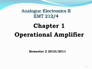 Analogue Electronics II EMT 212/4
