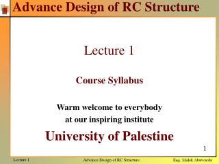 Advance Design of RC Structure