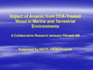Impact of Arsenic from CCA-Treated Wood in Marine and Terrestrial Environments