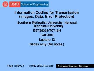 Information Coding for Transmission Images, Data, Error Protection