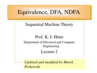 Equivalence, DFA, NDFA
