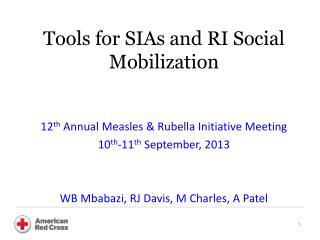 Tools for SIAs and RI Social Mobilization