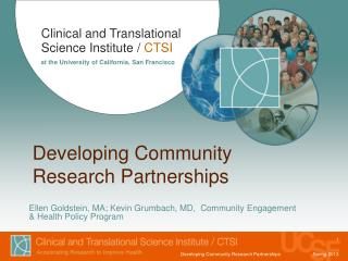 Developing Community  Research Partnerships