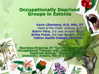 Occupationally Deprived Gro ups  in Estonia Karin Lilienberg, M.D, MSc, OT