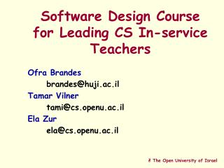 Software Design Course for Leading CS In-service Teachers