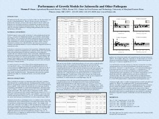 Performance of Growth Models for  Salmonella  and Other Pathogens