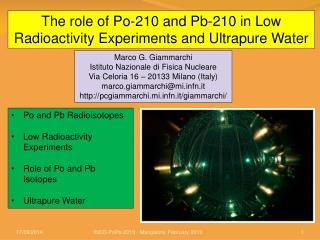The role of Po-210 and Pb-210 in Low Radioactivity Experiments and Ultrapure Water