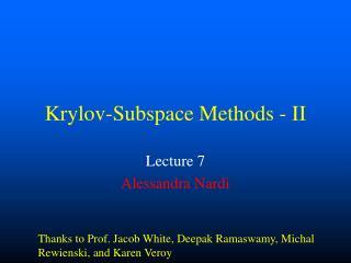 Krylov-Subspace Methods - II