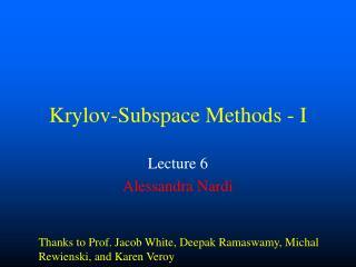 Krylov-Subspace Methods - I