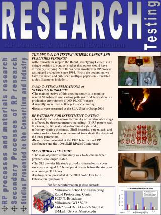 RP processes and materials research