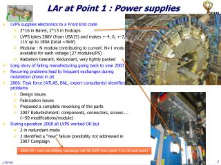 LAr at Point 1 : Power supplies