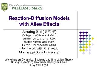 Reaction-Diffusion Models with Allee Effects