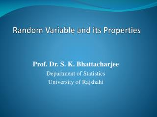 Random Variable and its Properties