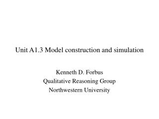 Unit A1.3 Model construction and simulation