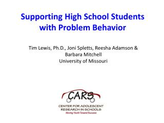 Supporting High School Students with Problem Behavior