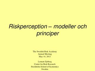 Riskperception – modeller och principer
