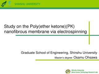 Graduate School of Engineering, Shinshu University Master's degree Osamu Ohsawa