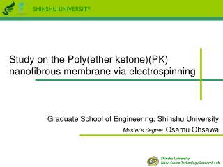 Graduate School of Engineering, Shinshu University Master's degree Osamu Ohsawa